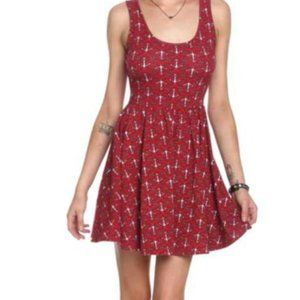 Hot Topic Red Anchor Skater Dress